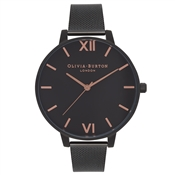 Olivia Burton After Dark Black Mesh & Rose Gold Watch