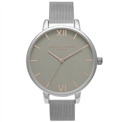 Olivia Burton Grey Dial Silver Mesh & Rose Gold Watch