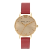 Olivia Burton Midi Dial Red & Gold Watch