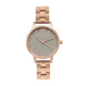 Olivia Burton Midi Grey Dial & Rose Gold Bracelet Watch