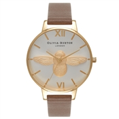 Olivia Burton Moulded Bee Taupe & Gold Watch