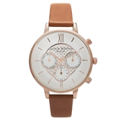 Olivia Burton Tan & Rose Gold Chronograph Watch