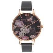 Olivia Burton Winter Garden Black & Rose Gold Watch