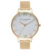 Olivia Burton White Dial Gold Mesh Watch