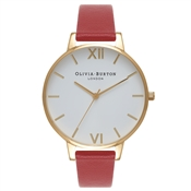 Olivia Burton White Dial Red and Gold Watch