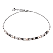 Coeur De Lion Swarovski Crystal Pearls, Black Crystals & Rose Gold Necklace