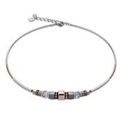 Coeur De Lion Rose Gold, Grey & Ice Blue Geo Cube Necklace