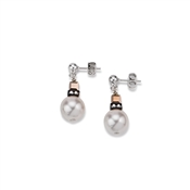 Coeur De Lion Swarovski Crystal Pearls, Black & Rose Gold Earrings