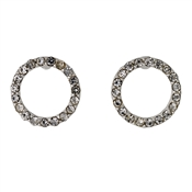 Pilgrim Silver Plated Open Circle Crystal Earrings