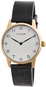 Pilgrim Black Leather Gold Plated Watch