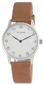 Pilgrim Brown Leather Silver Plated Watch