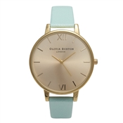 Olivia Burton Big Dial Mint & Gold Watch