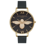 Olivia Burton Moulded Bee Black Dial & Gold Watch