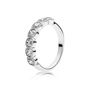 PANDORA Alluring Silver Crystal Cushion Ring