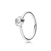 Pandora April Droplet Birthstone Ring