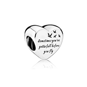 PANDORA Engraved Heart of Freedom Charm