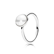 PANDORA Lustrous Crystal Pearl Droplet Silver Ring