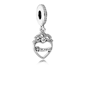 PANDORA Crystal Princess Drop Silver Charm