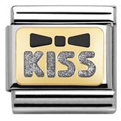 Nomination Glitter Nights Black & Silver Kiss Charm
