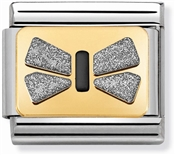 Nomination Silver Glitter Bow Charm