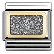 Nomination Glitter Nights Silver Square Charm