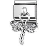 Nomination Silver Sparkling Dangly Dragonfly Charm