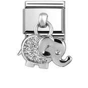 Silver Dangly Elephant Charm by Nomination