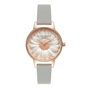 Moulded Daisy Grey & Rose Gold Watch by Olivia Burton
