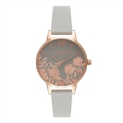 Olivia Burton Lace Detail Midi Grey & Rose Gold Watch