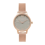 Olivia Burton Grey Midi Dial & Rose Gold Mesh Watch