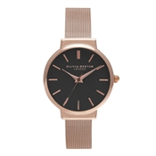 Olivia Burton Hackney Black Dial & Rose Gold Mesh Watch