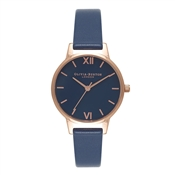 Olivia Burton Navy Midi Dial & Rose Gold Watch