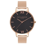 Olivia Burton Black Big Dial Rose Gold Mesh Watch