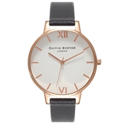 Olivia Burton White Big Dial Black & Rose Gold Watch