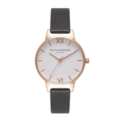 Olivia Burton White Midi Dial Black & Rose Gold Watch