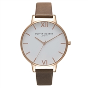 Olivia Burton White Big Dial Brown & Rose Gold Watch
