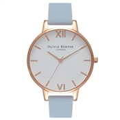 Olivia Burton White Big Dial Chalk Blue & Rose Gold Watch