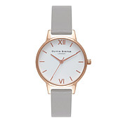 Olivia Burton White Midi Dial Grey & Rose Gold Watch