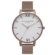 Olivia Burton White Big Dial Brown Mesh Watch