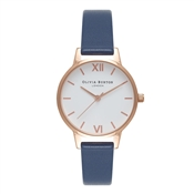 Olivia Burton White Midi Dial Navy & Rose Gold Watch