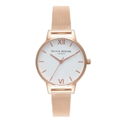 Olivia Burton White Midi Dial Rose Gold Mesh Watch