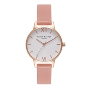 Olivia Burton White Midi Dial Rose & Rose Gold Watch