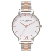 Olivia Burton Big Dial Silver & Rose Gold Bracelet Watch