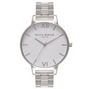 Olivia Burton White Big Dial Silver Bracelet Watch