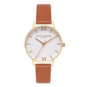 Olivia Burton White Midi Dial Tan & Gold Watch