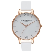 Olivia Burton Big Dial White & Rose Gold Watch
