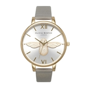 Olivia Burton Moulded Bee Grey & Gold Watch