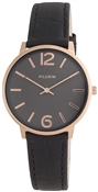 Pilgrim Black & Rose Gold Watch