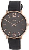 Pilgrim Large Black & Rose Gold Watch