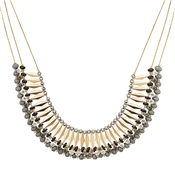 Dirty Ruby Gold Detail Grey Bead Necklace